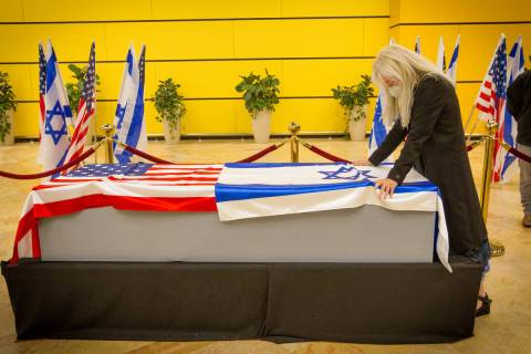 Dr. Miriam Adelson pays her respects to her late husband Sheldon Adelson on Thursday, Jan. 14, ...