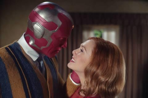 "Elizabeth Olsen as Wanda Maximoff and Paul Bettany as Vision star in the Disney+ series ""WandaV ..."