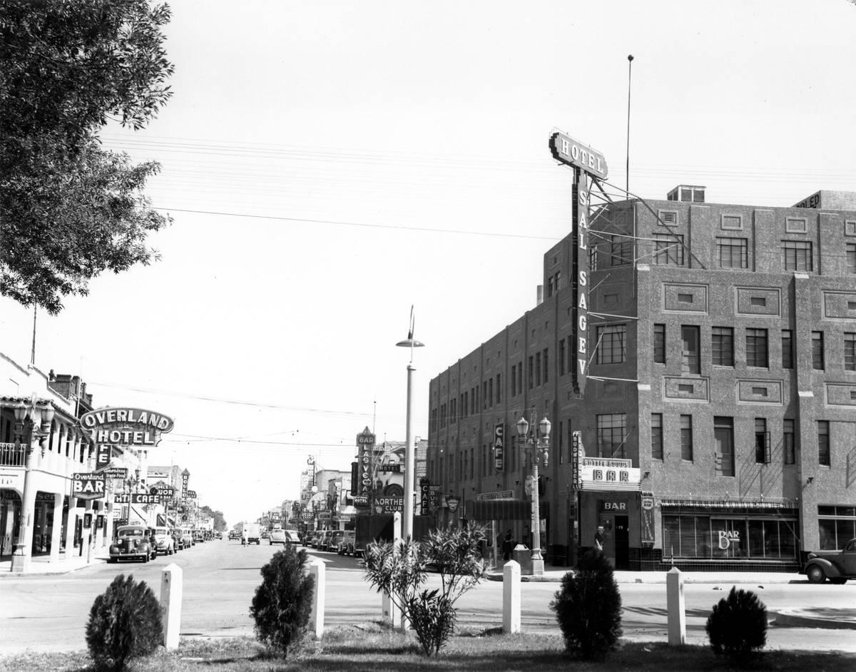 Golden Gate (then Hotel Sal Sagev) and Fremont Street in 1940. (Golden Gate Hotel & Casino)