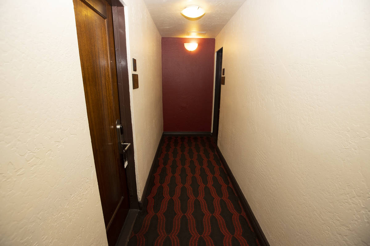 The hallway to original Golden Gate hotel-casino rooms, formerly known as Hotel Nevada, in Las ...