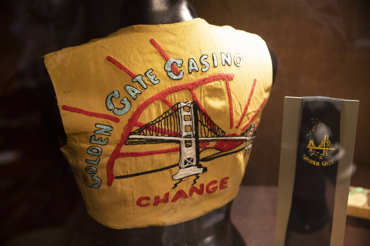 Casino uniforms from the 1960s are displayed at Golden Gate hotel-casino in Las Vegas, on Frida ...