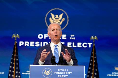 President-elect Joe Biden speaks about the COVID-19 pandemic during an event at The Queen theat ...