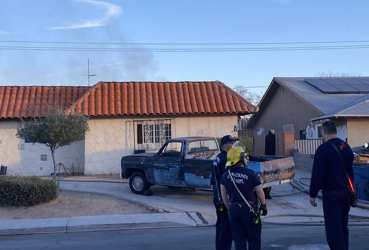 Clark County firefighters were on the scene of a fire in the 3700 block of Edison Avenue, near ...