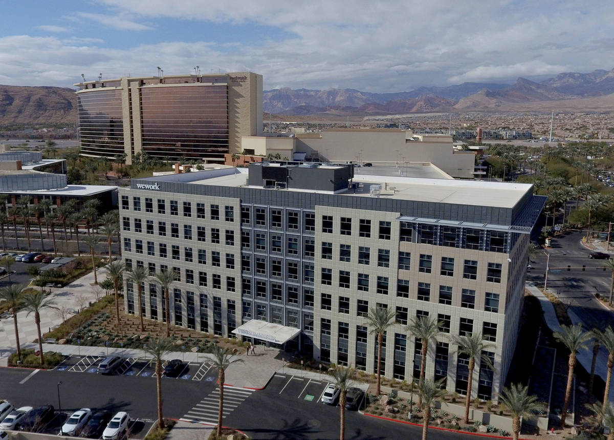 An office building at the southeast corner of Pavilion Center and Griffith Peak Drive, near Cit ...