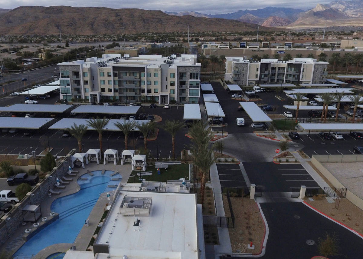 The Tanager apartment complex at the corner of Sahara Ave. and Pavilion Center Dr., is photogra ...