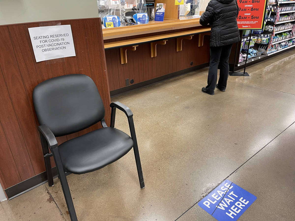 A seat for post COVID-19 vaccination observation at Smith's at Hualapai Way and Charleston Boul ...