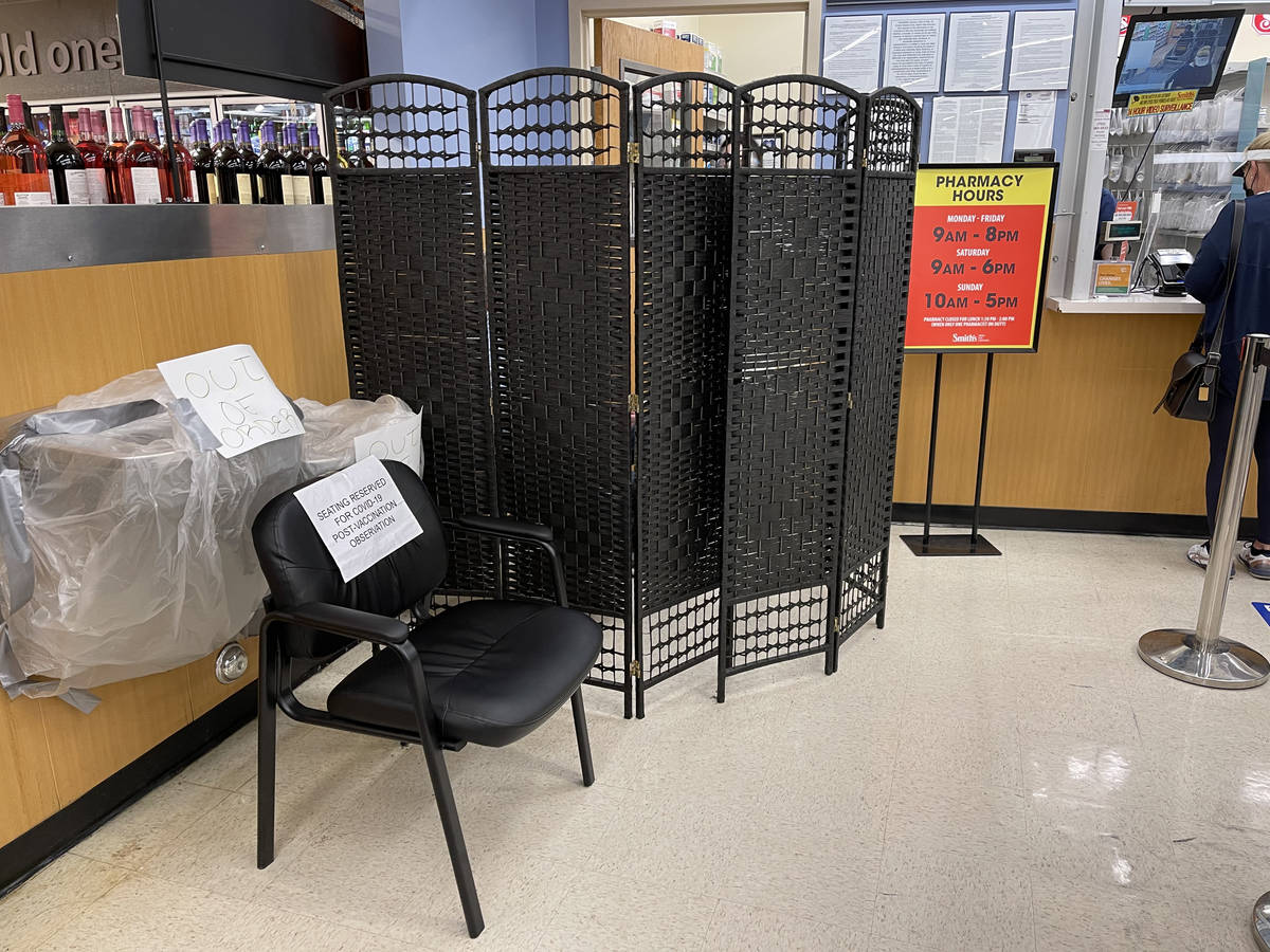 A privacy barrier for COVID-19 vaccinations at Smith's at Rampart and Lake Mead boulevards in L ...
