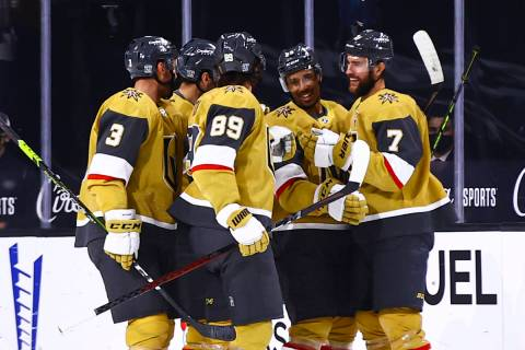 Golden Knights defenseman Alex Pietrangelo (7) celebrates his goal with teammates during the fi ...