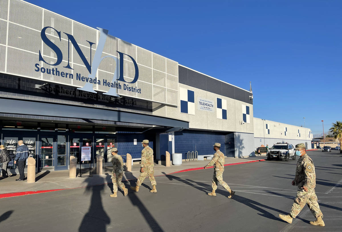 Members of the Nevada National Guard arrive at the Southern Nevada Health District in Las Vegas ...