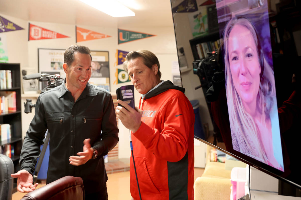 Kyle Kimoto, left, thanks singer Jewel on a video call, right, with foundation co-founder Ryan ...