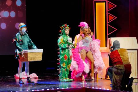 Piff The Magic Dragon (John van der Put), the Squire (Brett Alters), showgirl Jade Simone and c ...