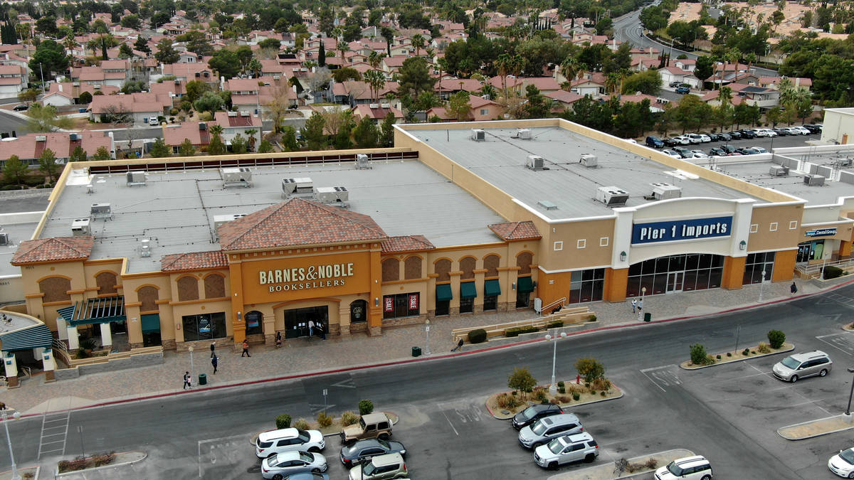 An aerial photo of Barnes & Noble Booksellers and Pier 1 Imports at Crossroads Commons, a L ...