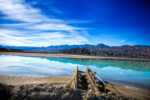 A lithium brining pond near Silver Peak, in Esmeralda County, is seen in 2015. (Las Vegas Revie ...