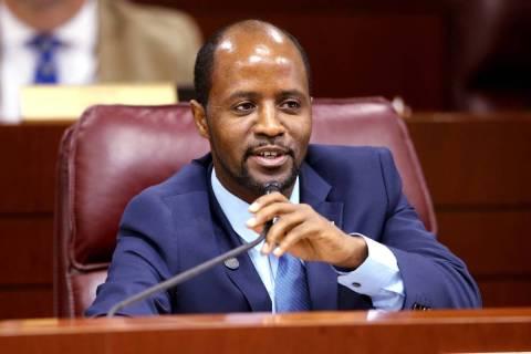 Assemblyman Alexander Assefa, D-Las Vegas, asks a question during an Education Committee meetin ...