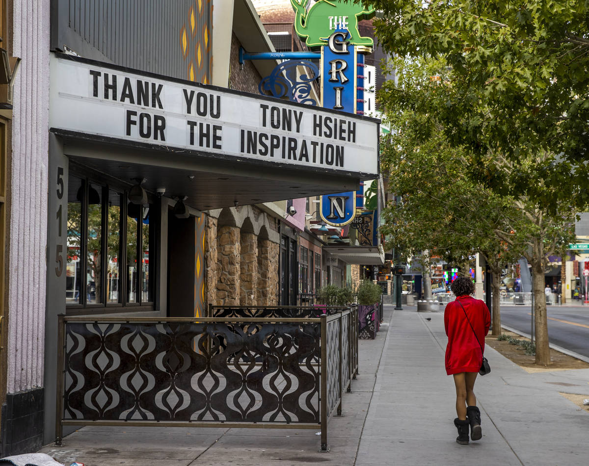 The marquee at Corduroy is dedicated to Tony Hsieh in downtown Las Vegas on Friday, Dec. 11, 20 ...