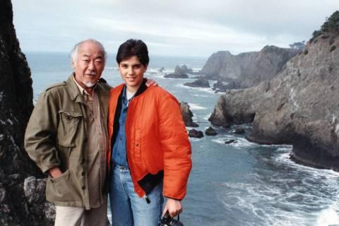 "Pat Morita with his ""Karate Kid"" co-star Ralph Macchio. (Evelyn Guerrero-Morita)"