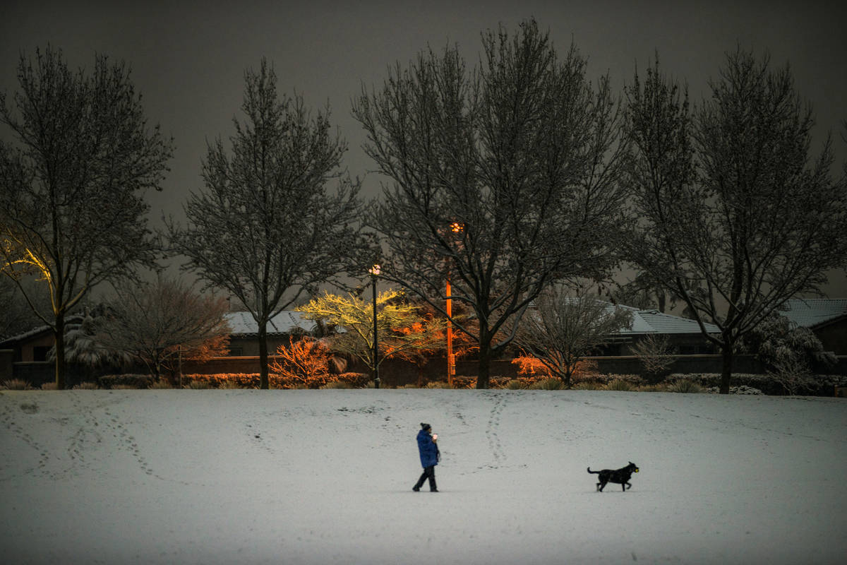 A person walks their dog as snow flurries come down in Summerlin near Gardens Park on Tuesday, ...