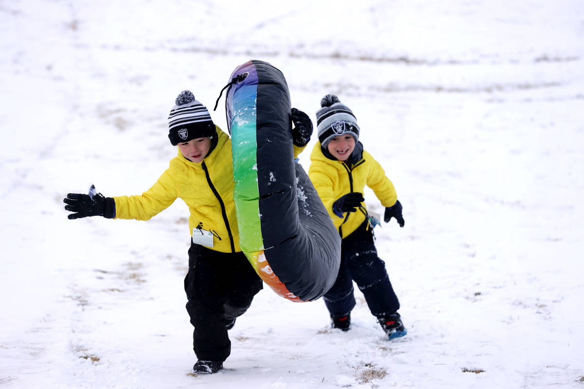 Nicholas Tarantino, 7, left, and his brother, Colton, 5, play in the snow at Fox Hill Park in S ...