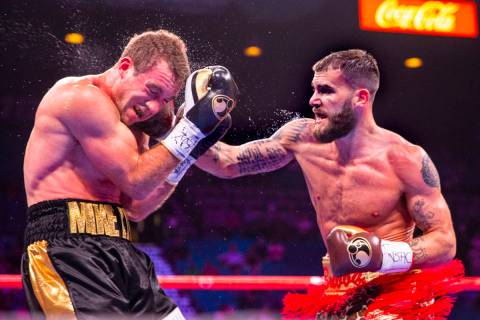 Mike Lee, left, takes a punch to the face from Caleb Plant which sends him to the canvas again ...