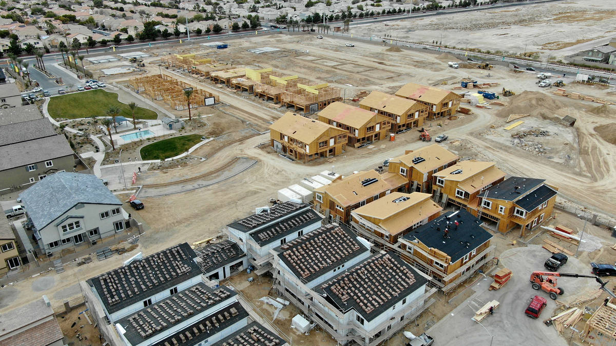 An aerial view of housing developments near North Decatur Boulevard between Elkhorn Road and Gr ...