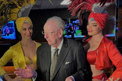 Oscar Goodman and ever-present showgirls Brooke Opheim, left and Porsha Revesz are shown at Wes ...