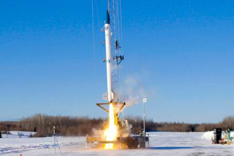 This Jan. 31, 2021 image provided by bluShift Aerospace shows an unmanned rocket lifting off in ...