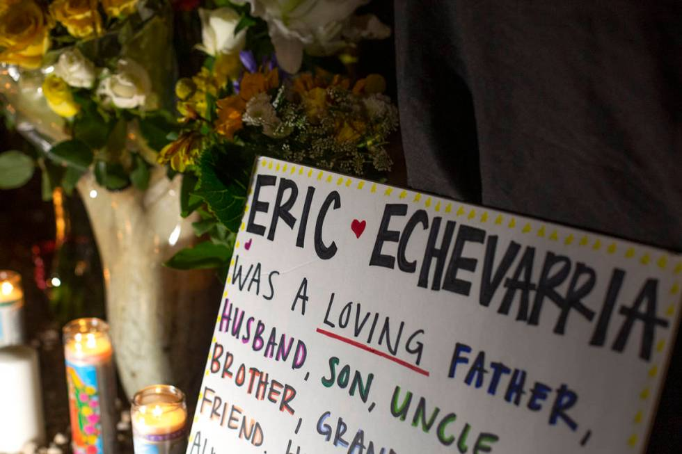 A vigil for Eric Echevarria, a 52-year-old father and husband who was killed in a suspected DUI ...
