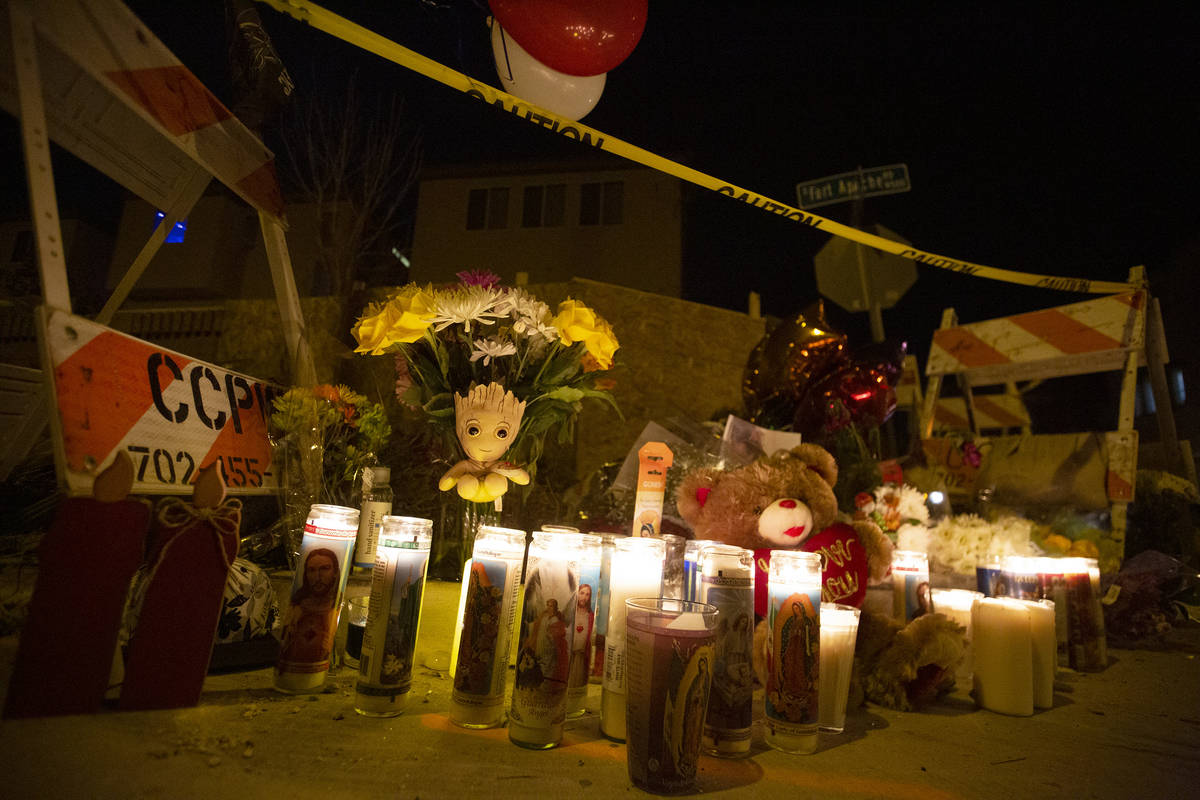 A memorial stands at the intersection of Furnace Gulch Avenue and Fort Apache Road where Eric E ...