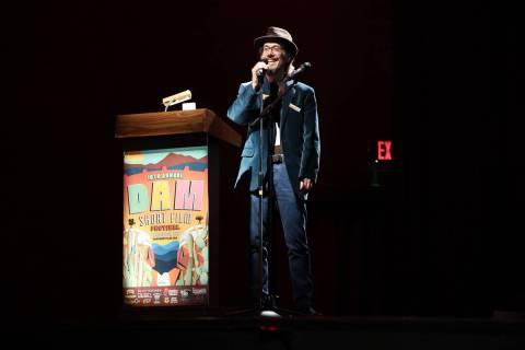 Lee Lanier, co-founder of the Dam Short Film Festival, speaks during the 2020 installment of th ...