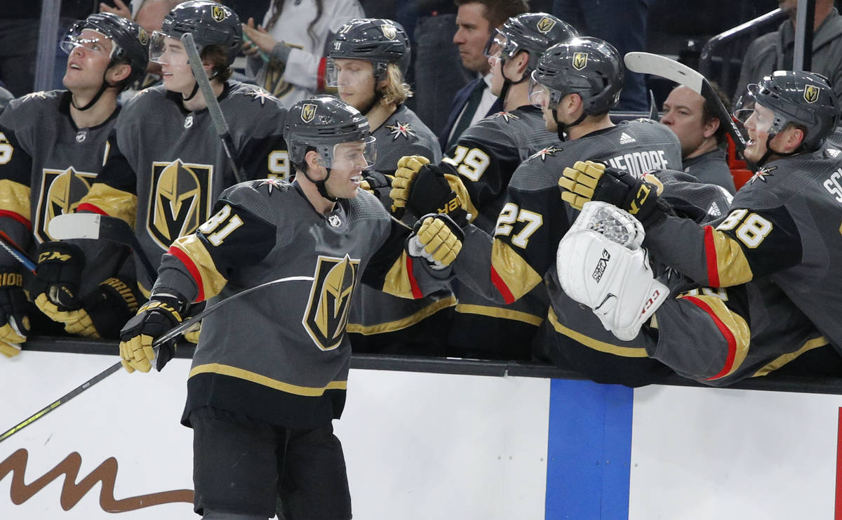 Vegas Golden Knights center Jonathan Marchessault (81) celebrates after scoring against the Ana ...