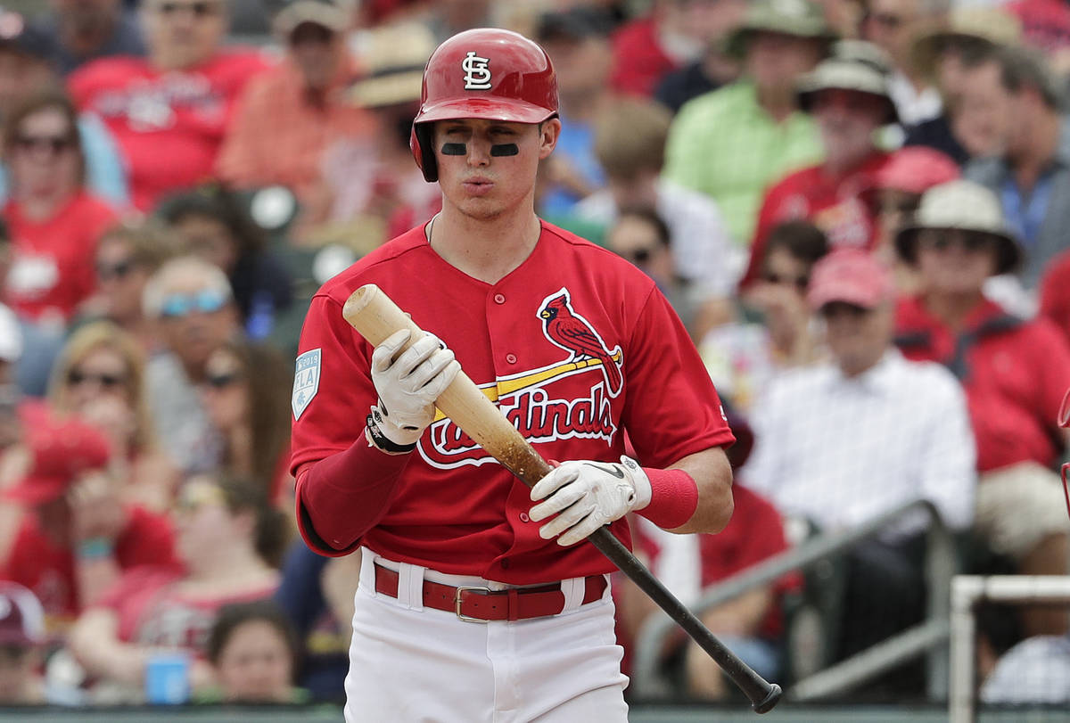 St. Louis Cardinals' Drew Robinson (33) reacts after getting a strike in the fourth inning duri ...