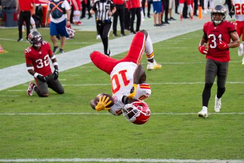 In this Nov. 29, 2020 file photo, Kansas City Chiefs wide receiver Tyreek Hill (10) does a back ...