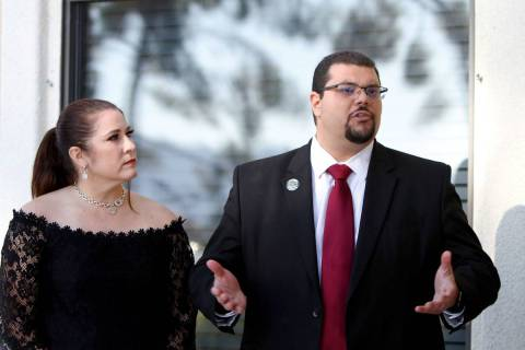 Nye County Commissioner Leo Blundo, right, stands with his wife Melissa at a Pahrump press conf ...
