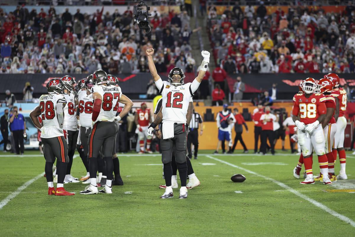 Tampa Bay Buccaneers quarterback Tom Brady (12) celebrates during the NFL Super Bowl 55 footbal ...