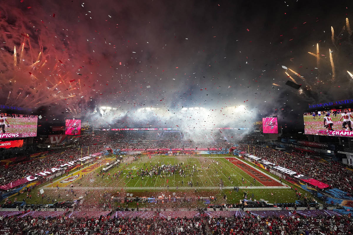 Fireworks explode after the Tampa Bay Buccaneers defeated the Kansas City Chiefs in the NFL Sup ...