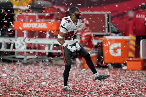 Tampa Bay Buccaneers cornerback Carlton Davis celebrates at the end of the NFL Super Bowl 55 fo ...