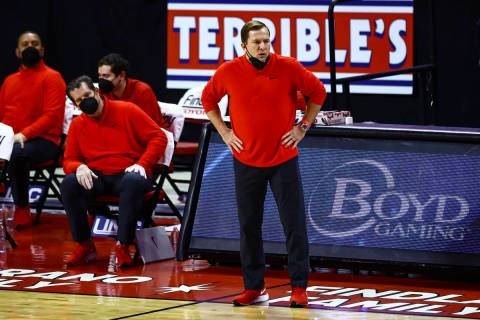 UNLV basketball coach T.J. Otzelberger is shown during a game on Thursday, Jan. 21, 2021, at th ...