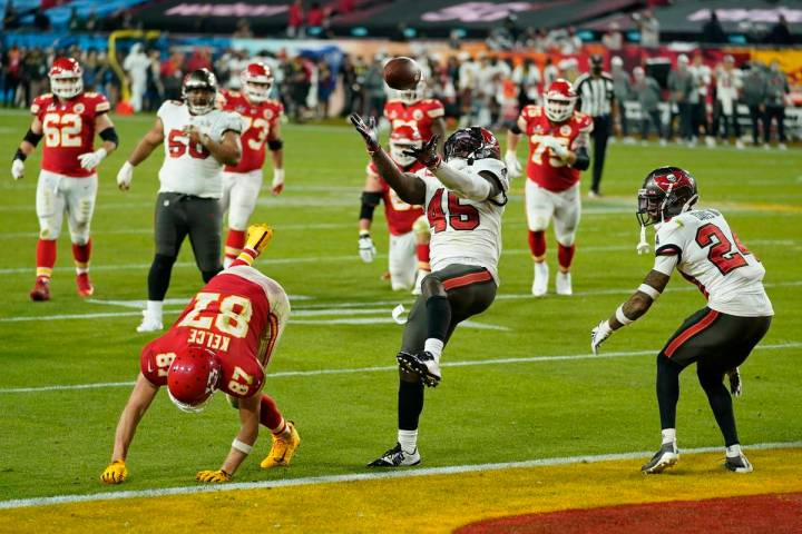 Tampa Bay Buccaneers inside linebacker Devin White makes an interception against Kansas City Ch ...