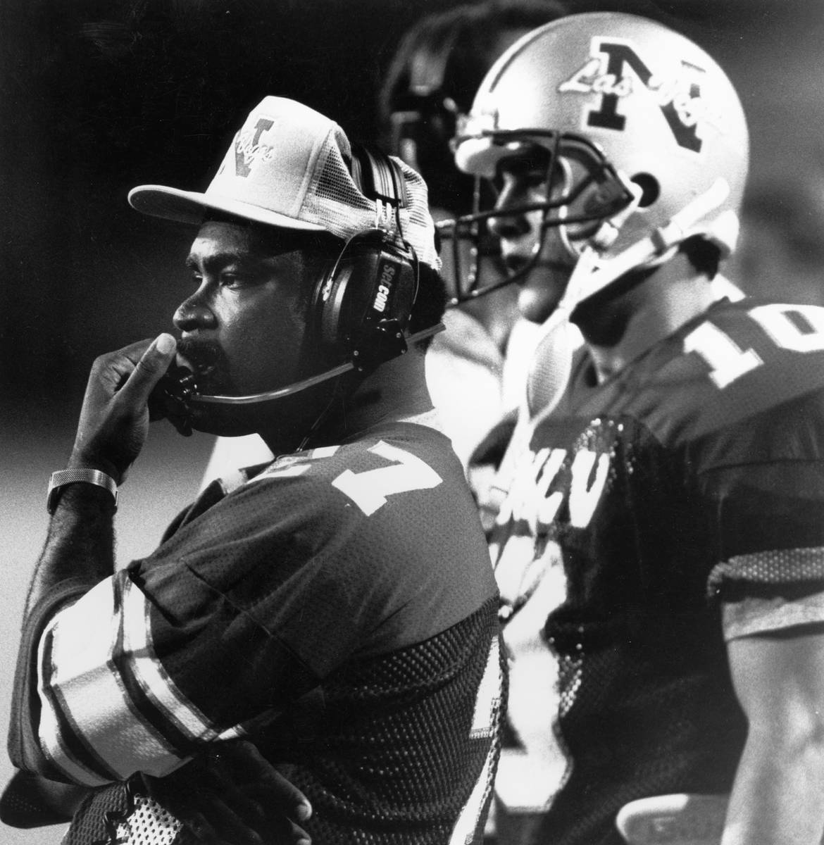 UNLV coach Wayne Nunnely coaches in uniform on Oct. 3, 1987, against UNR at Sam Boyd Stadium. P ...