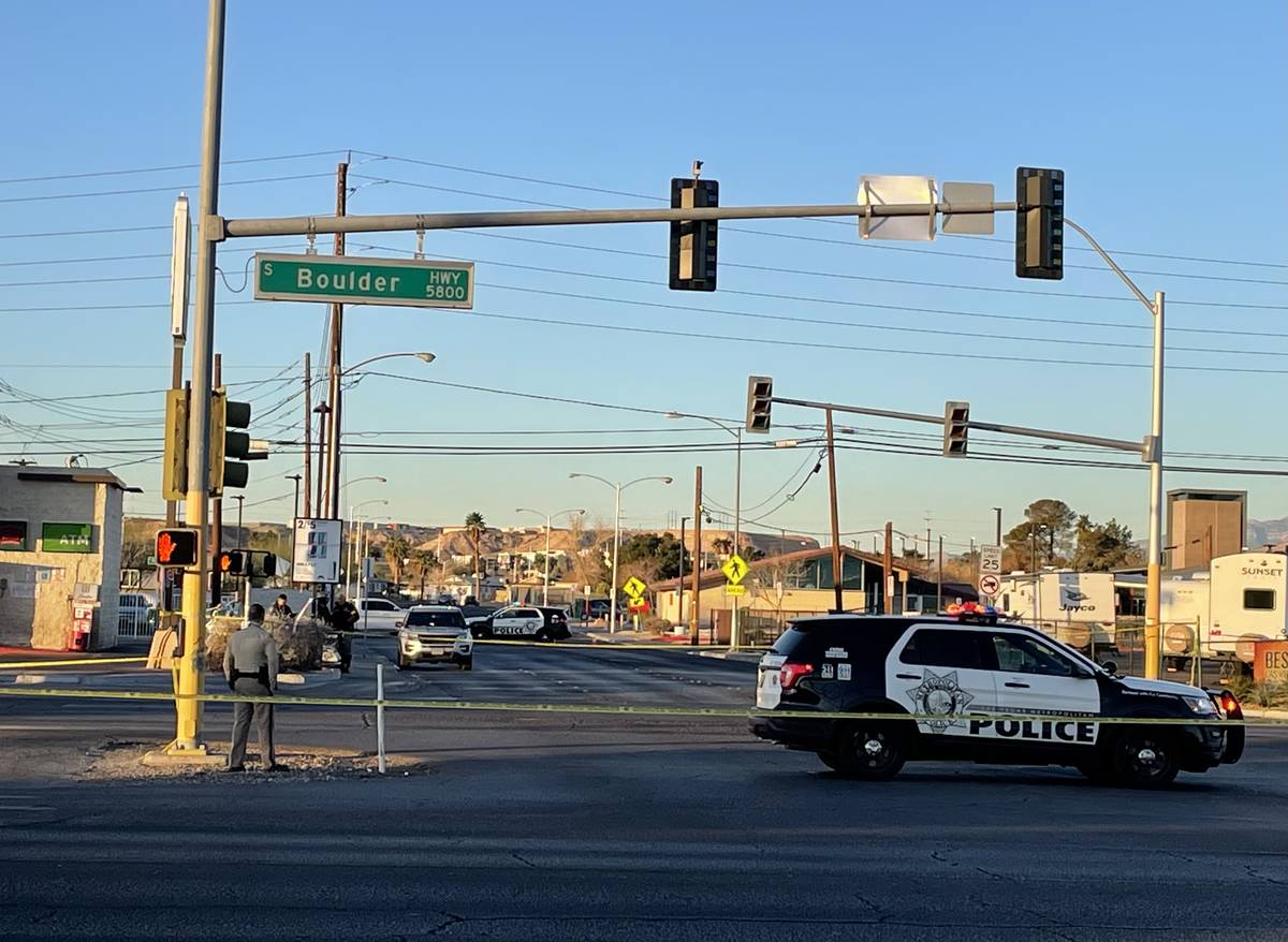 Police investigate after a pedestrian struck by a pickup truck at Boulder and Missouri Avenues ...