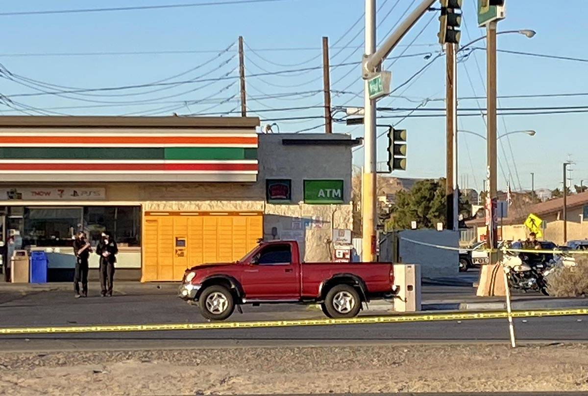 Police investigate after a pedestrian struck by a pickup truck at Boulder Highway and Missouri ...