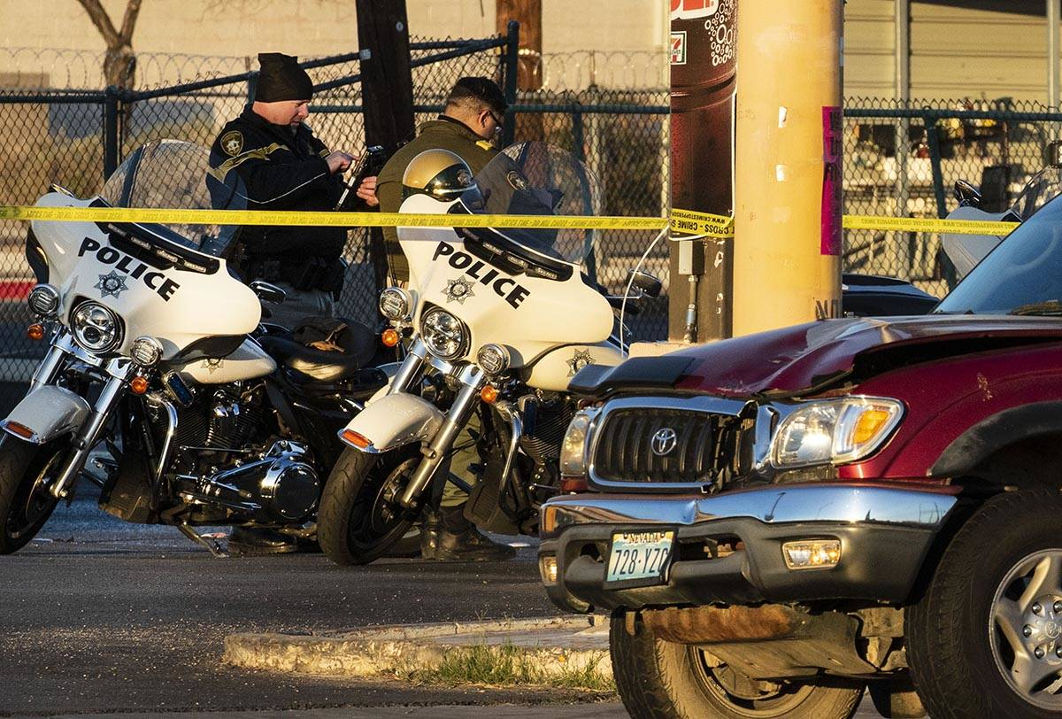 Metropolitan Police Department officers investigate after a pedestrian was struck by a pickup t ...