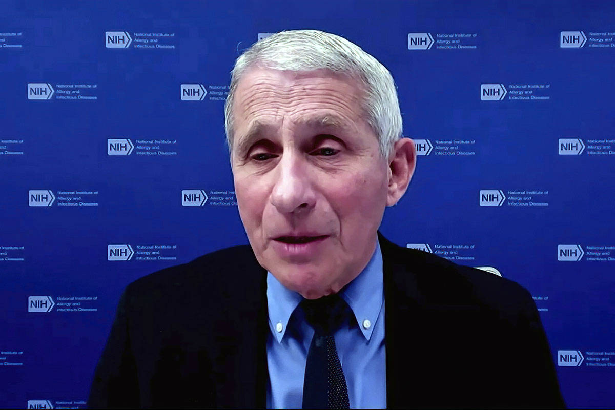 In this Jan. 27, 2021, image from video, Dr. Anthony Fauci, director of the National Institute ...