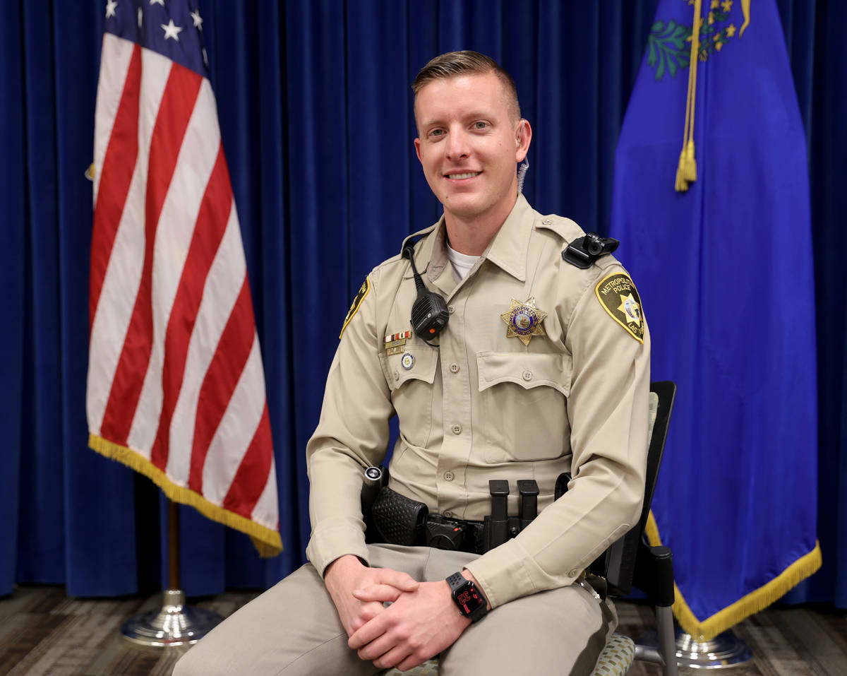 Las Vegas police officer James Bryant at Metropolitan Police Department Headquarters in Las Veg ...