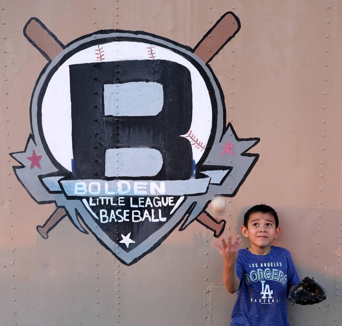 Evann Villanueva, 8, Las Vegas, outside the baseball fields at Kianga Isoke Palacio Park at Doo ...