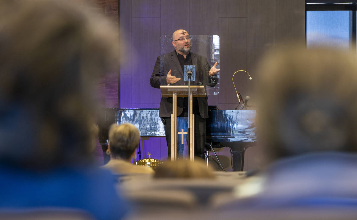 Pastor Bob Sundquist speaks during an Ash Wednesday service at Faith Community Lutheran Church ...