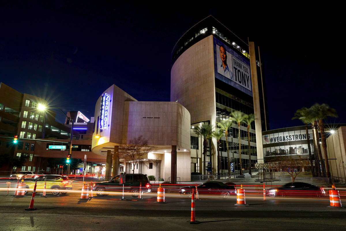 Zappos headquarters in Las Vegas Wednesday, Feb. 17, 2021. The family of the late Tony Hsieh is ...