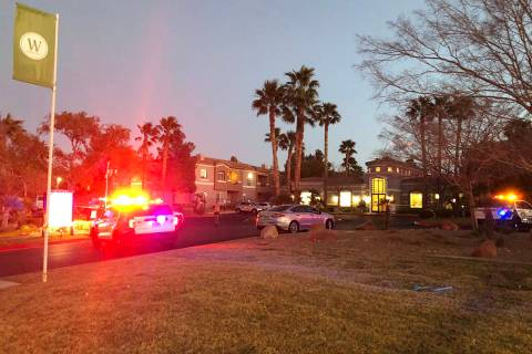 Las Vegas police are investigating a homicide Tuesday, Feb. 17, 2021, at The Clubs at Rhodes Ra ...