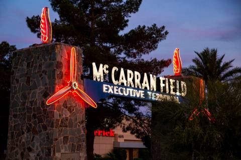 A view of the McCarran Field Executive Terminal neon sign by McCarran International Airport in ...