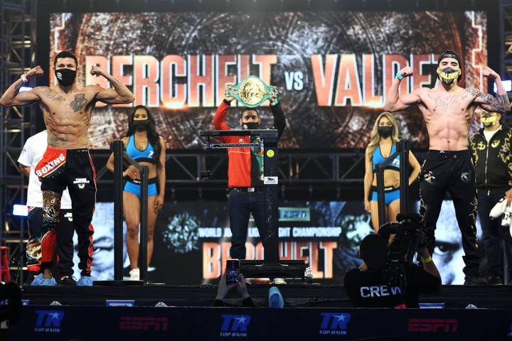 Miguel Berchelt, left, and Oscar Valdez pose during the weigh-in for the WBC super featherweigh ...